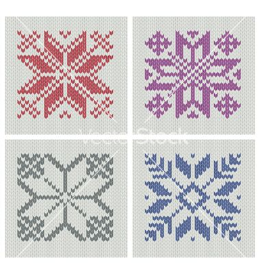 Set Of Norwegian Traditional Knitting Designs Vector 677642 By