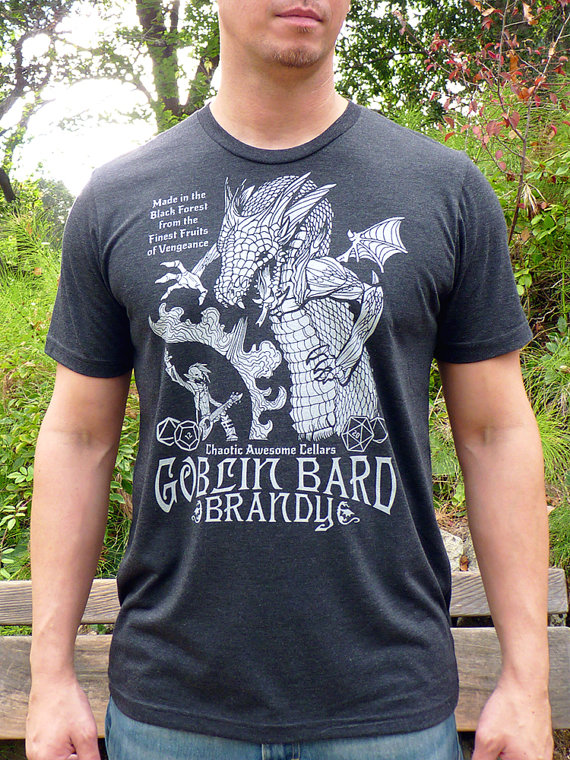 DnD Gift, Matching Tshirt, Gamer Gifts, DnD Dice, D20 Dice, RPG, Dragon Tshirts, Gamer Shirts, Couples Gift - Goblin Bard Brandy Tshirts