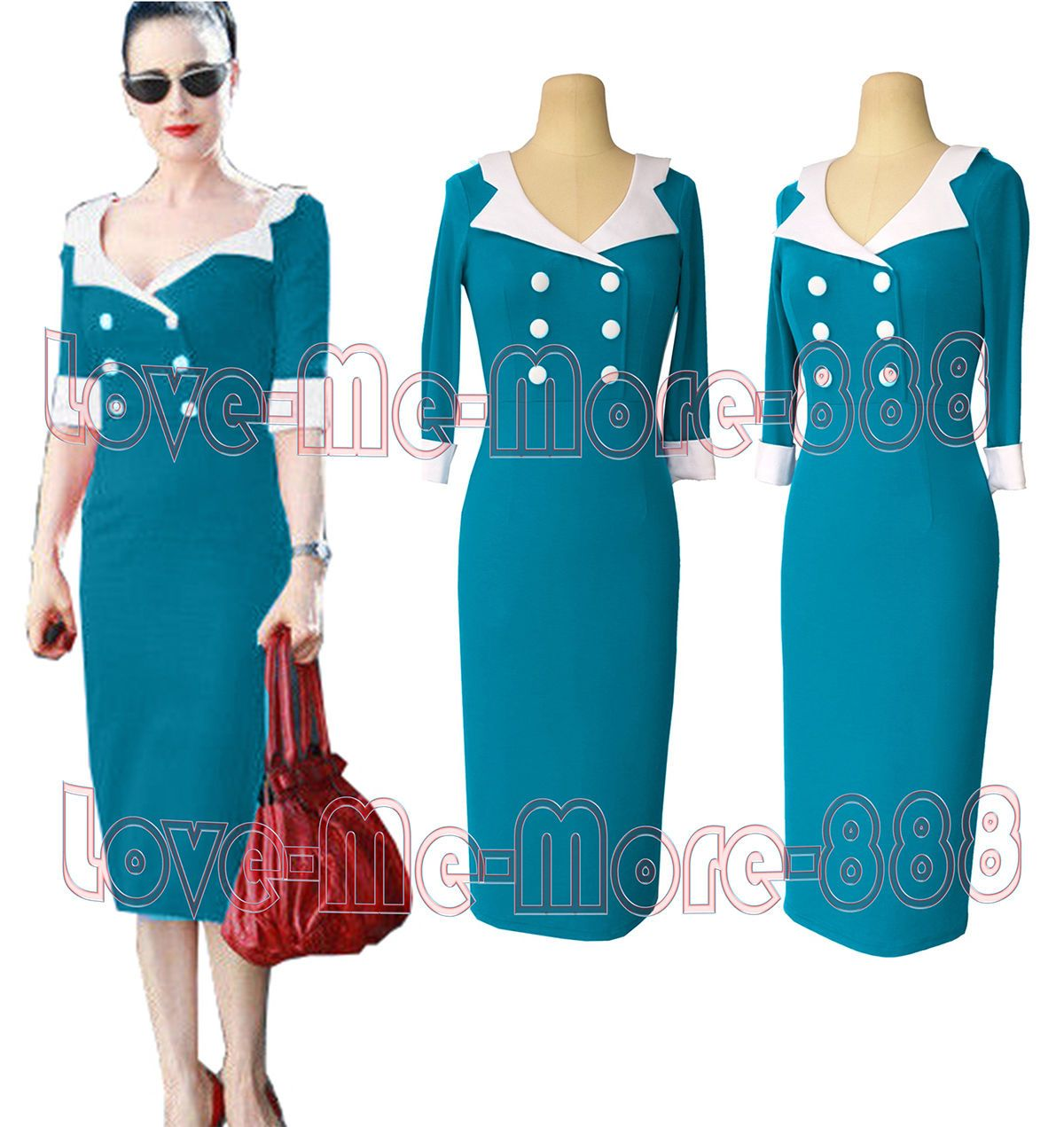Vintage Celebrity Formal Party Work Sheath 3/4 Sleeve Bodycon Dress ...