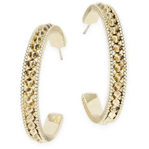 House Of Harlow 1960 Textured Hoop Earrings ($17) ❤ liked on Polyvore featuring jewelry, earrings, gold, house of harlow 1960 jewelry, gold hoop earrings, gold tone hoop earrings, golden hoop earrings and gold tone earrings