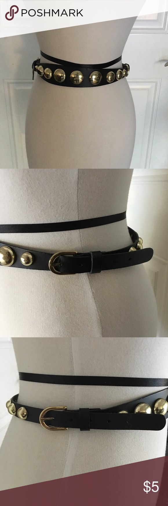 H&M Gold and Black Belt This belt has Buckles in each side to be adjustable. The one side has large circle metal details and the other side has smaller ones so you have an option on which you want. I would say it fits a small it Med. H&M Accessories Belts