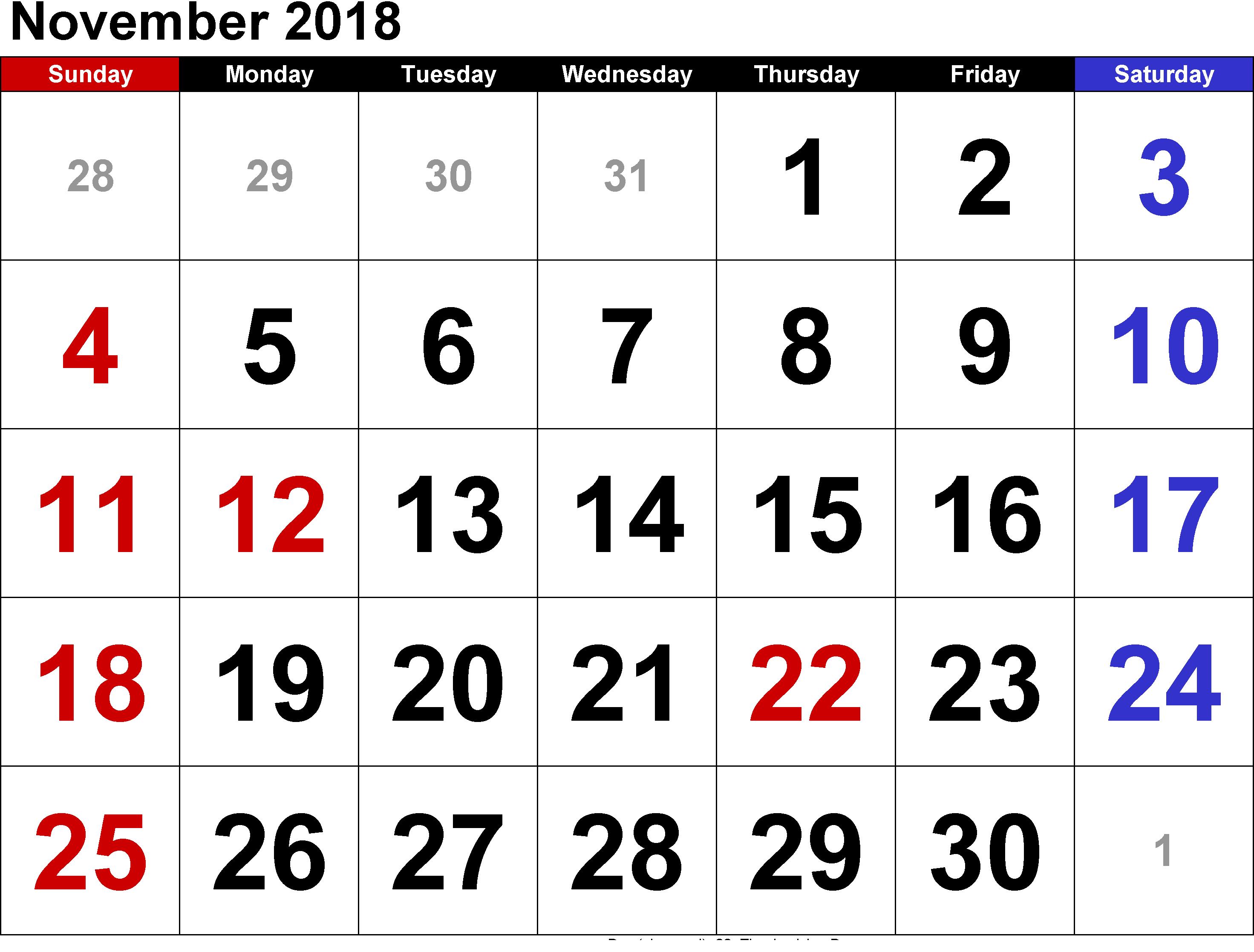 November 2018 Pdf File Calendar August Calendar Monthly Calendar Template November Calendar