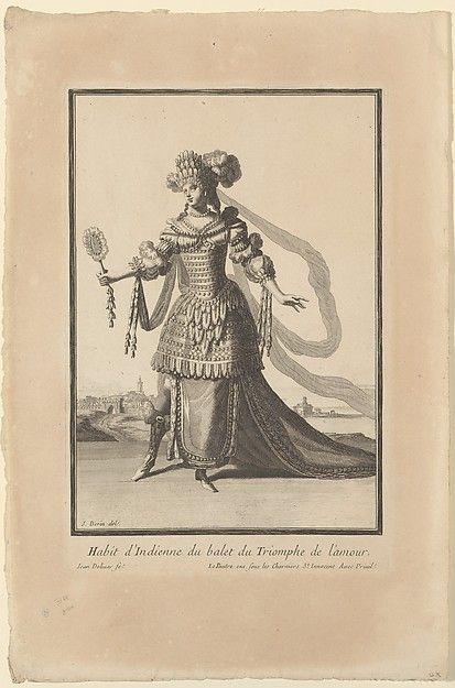 """Juan Dolivar (Spanish, 1641–1692). Costume of an Indian Woman from the Ballet """"Triumph of Love"""" (Habit d'Indienne du ballet du Triomphe de l'amour), 1681–92. The Metropolitan Museum of Art, New York. The Elisha Whittelsey Collection, The Elisha Whittelsey Fund, 1960 (60.699.1)"""