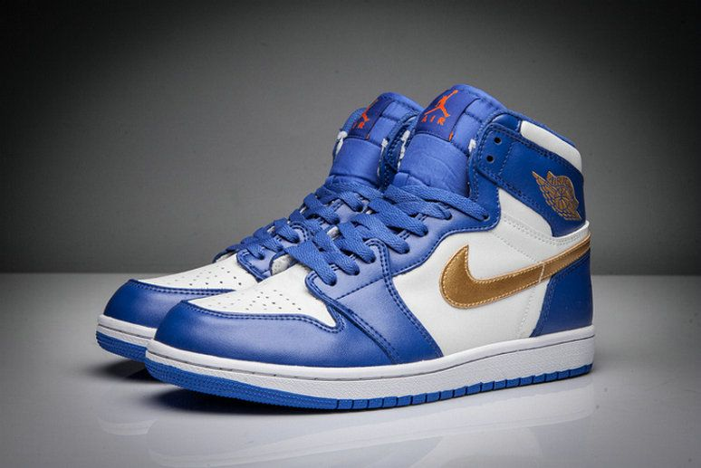 Air Jordan 1 High Olympic University Blue Gold white casual shoes Shoe 8c42375858e1