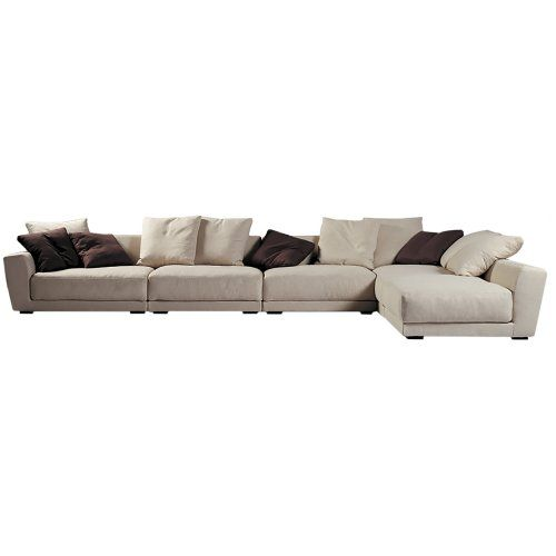 Modern White Natural Linen Italian Modular Sofa And Lounge