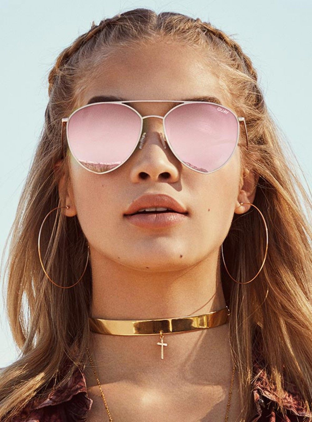 fa39aa3d74 Quay Indio Sunglasses Gold Pink Mirror