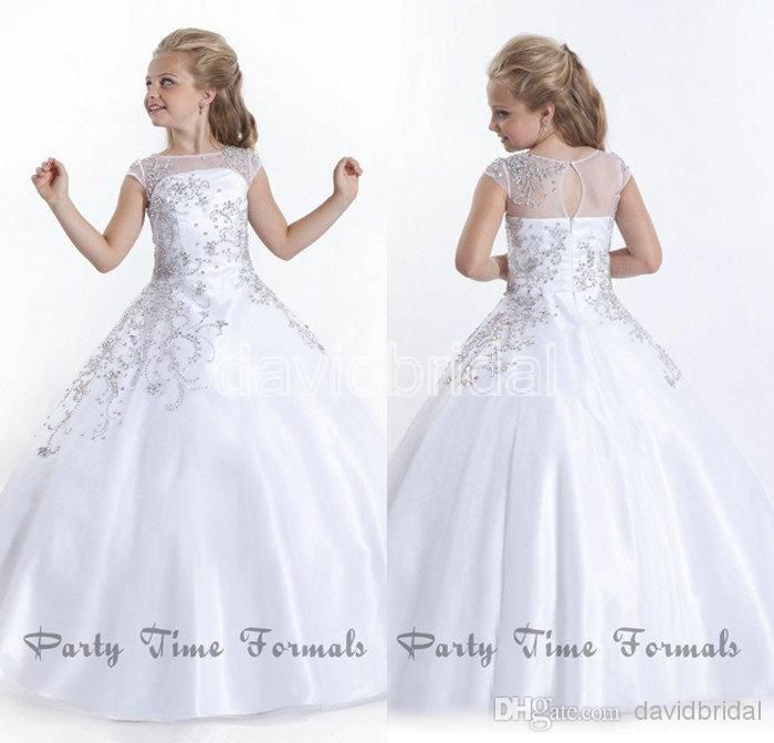 Cheap Flower Girl Dresses - Discount Bead Bateau Cap Sleeve White Little Girl S Online with $61.97/Piece   DHgate