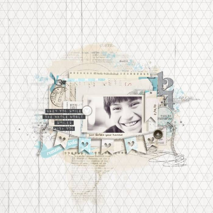 loving the black and white photo with this blue! great #scrapbook page from Anke at DesignerDigitals.com