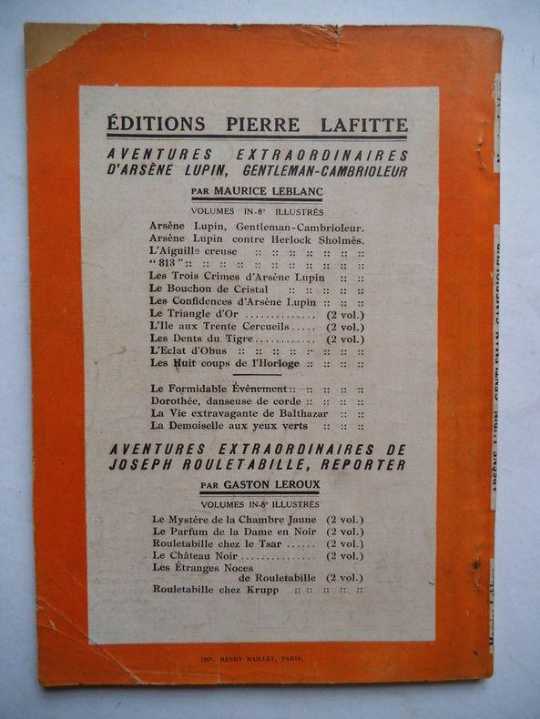Leblanc Maurice Arsene Lupin Livre Rare Book