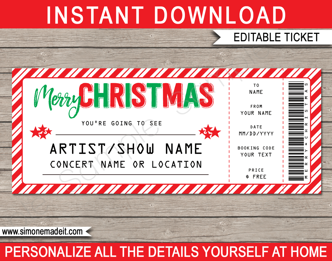 Printable Christmas Gift Concert Ticket Surprise Tickets To A Band Show Music Festival Performance Artist Fake