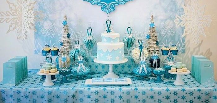 White And Blue Snowflake Ice Skating Cakes For Boys