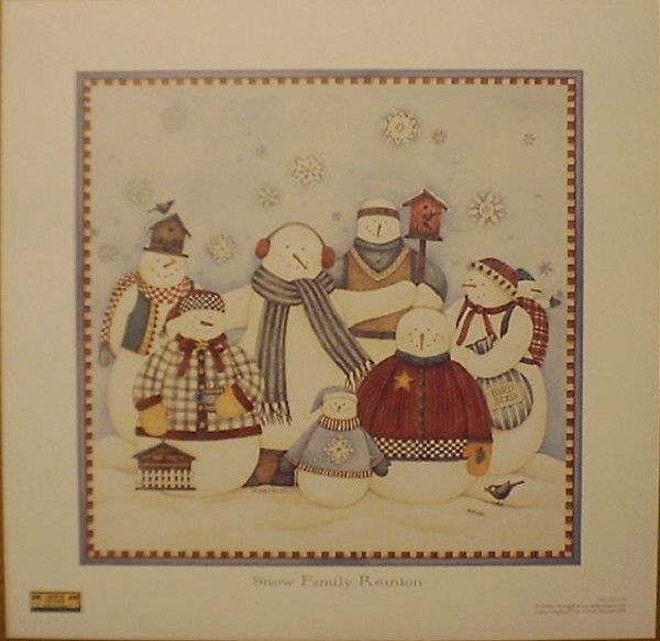 images of debbie mumm prints | Art Print Snow Family Reunion Debbie Mumm Snowman | eBay