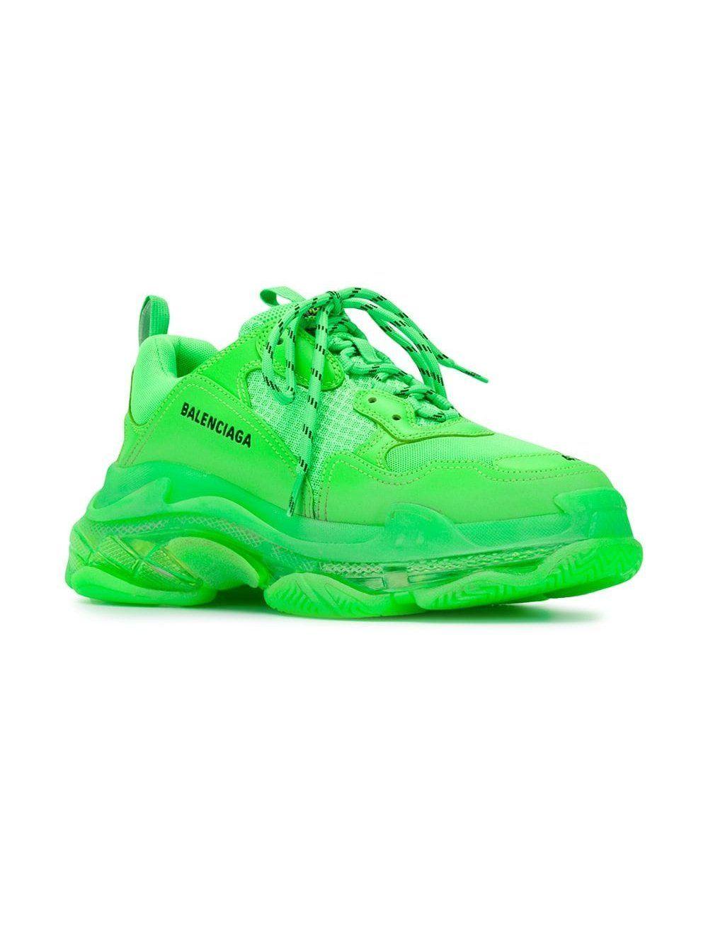Neon Green Triple S Sneakers by
