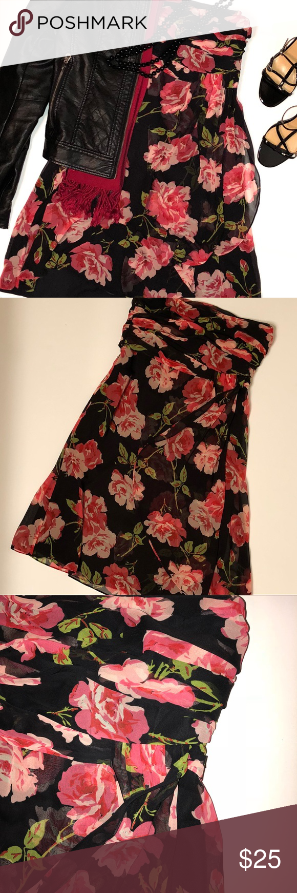 The limited black red floral strapless dress sz strapless dress