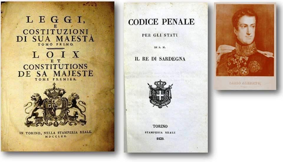 Regie Costituzioni del 1770, Codice Penale del 1839, re Carlo Alberto.