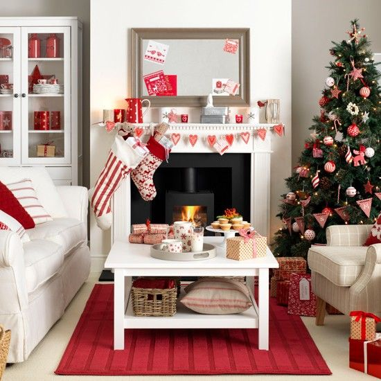 Red Ornaments For Living Room: Scandi-style Red And White Living Room
