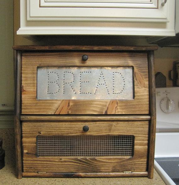 Rustic Bread Box Vegetable Bin Storage Primitive Cupboard Onion