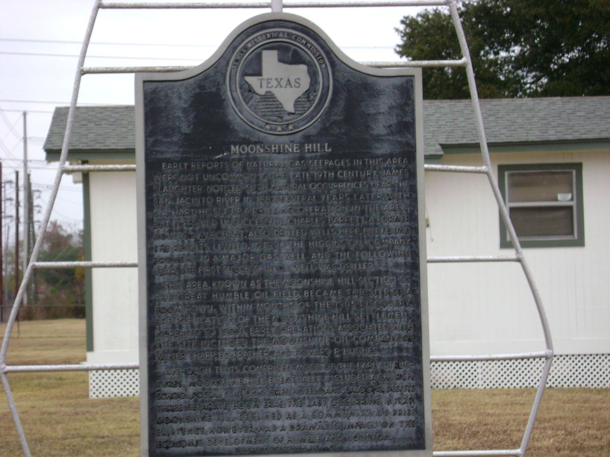 Historical Marker at 2735 FM 1960 E, Humble TX - Moonshine