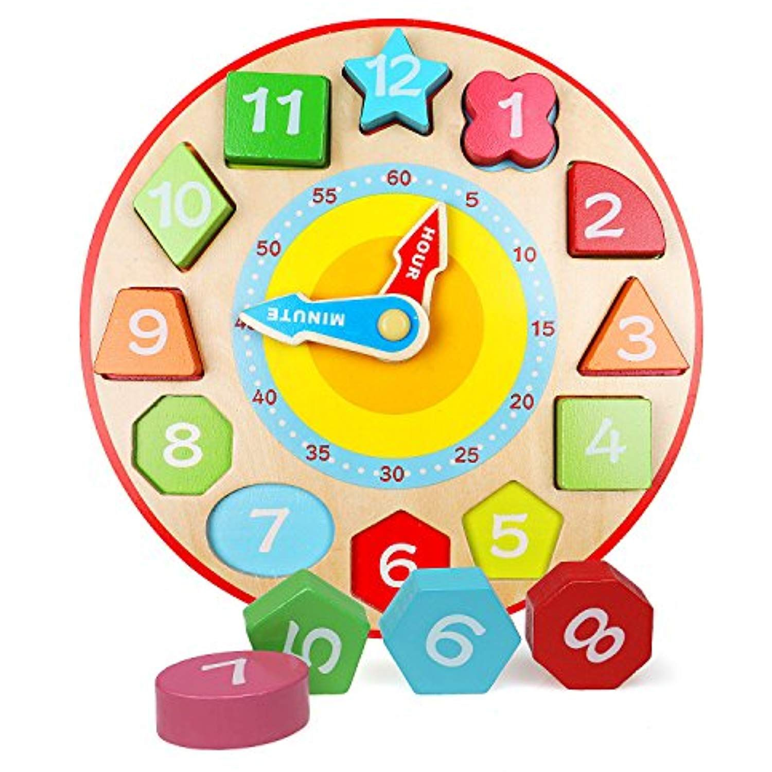 Lewo Wooden Teaching Clock Educational Toys Shapes Sorting ...