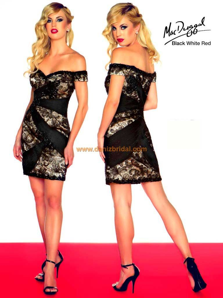 Mac duggal r mac duggal black white red dress