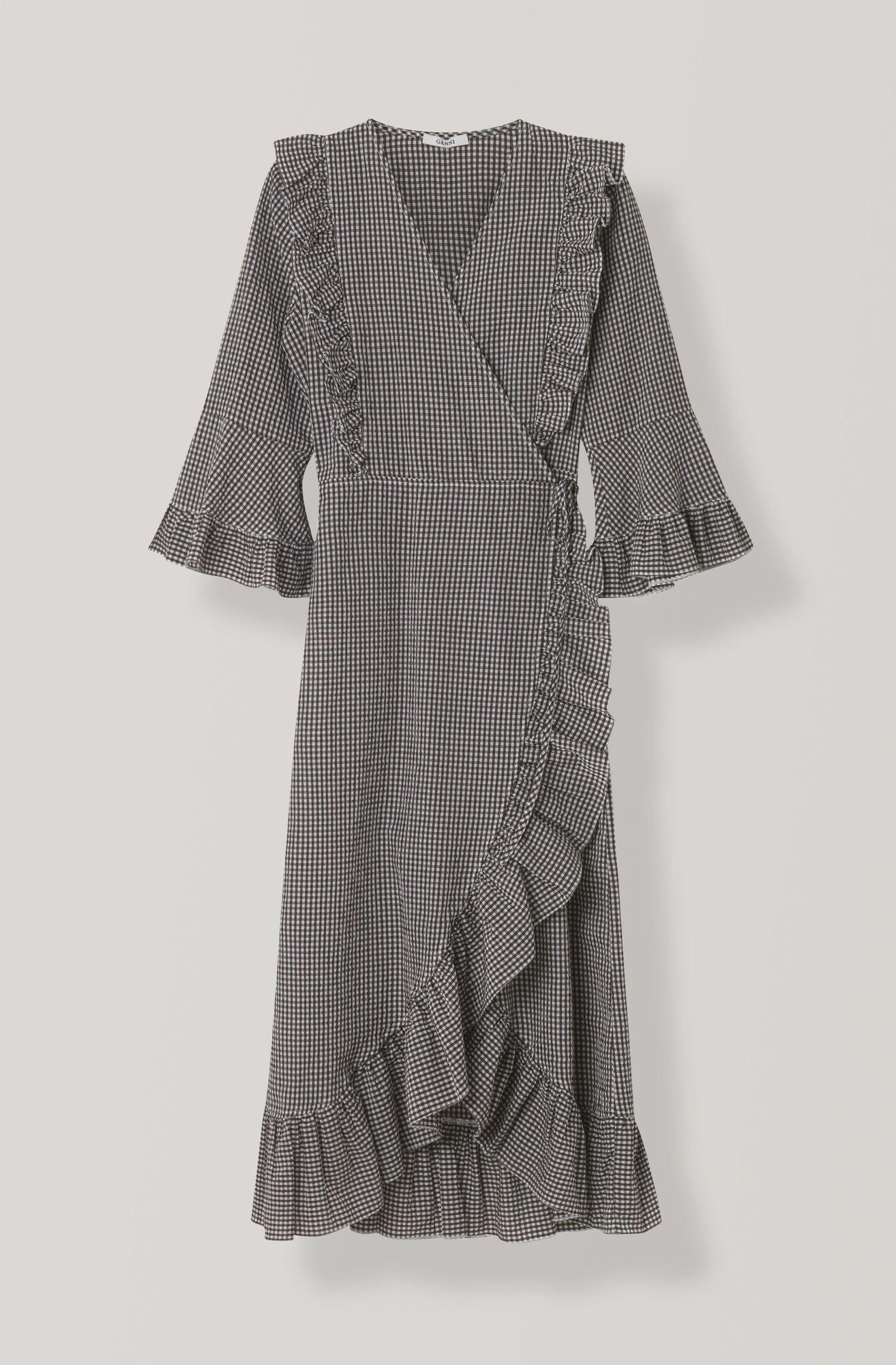 Seersucker Check Wrap Dress Ganache With Images Wrap Dress