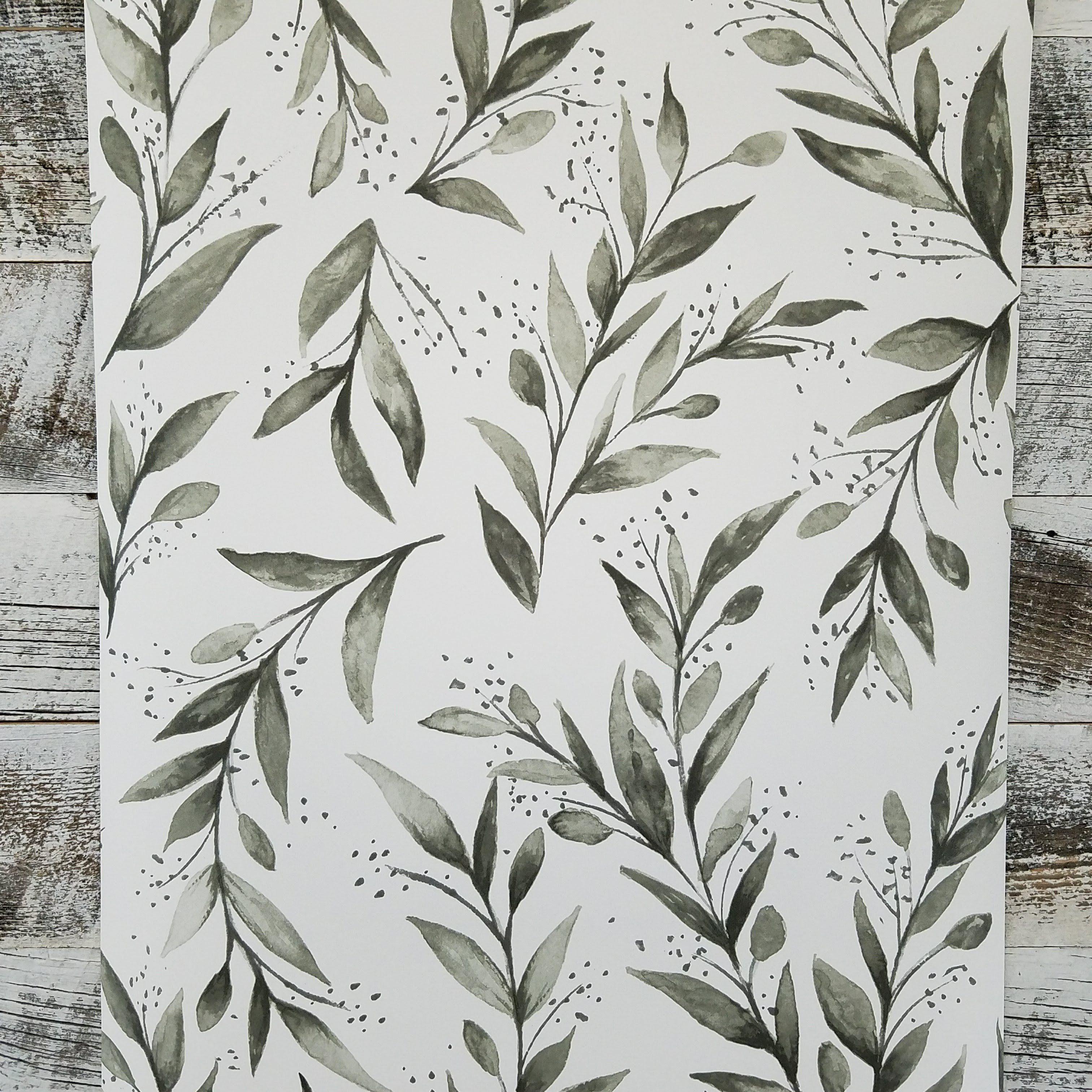 Magnolia Home Gray Olive Branch Botanical Wallpaper Charcoal Wallpaper Joanna Gaines Wallpaper Farmhouse Wallpaper