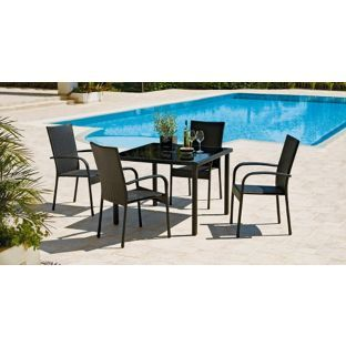 buy lima 4 seater patio furniture dining set black at argoscouk