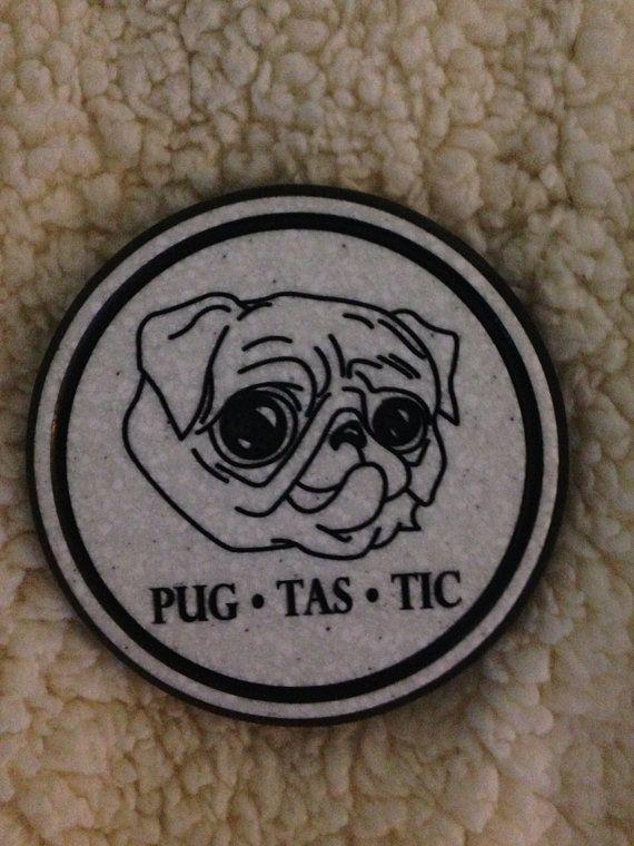 Set Of Two Pug Tastic Coasters Products Pugs Pug Love Coasters