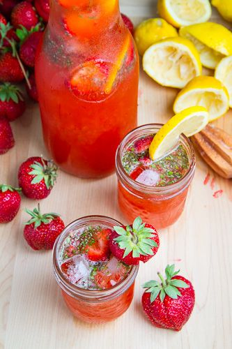 Strawberry Basil Lemonade #basillemonade