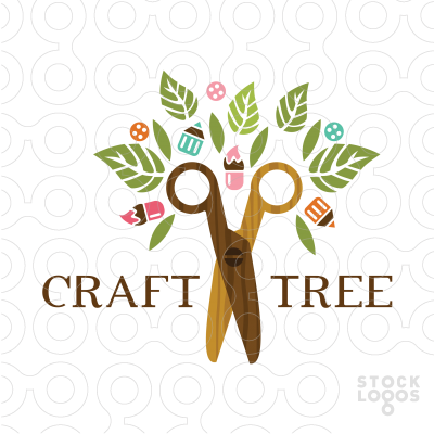 Exclusive Customizable Logo For Sale Craft Tree Stocklogos Com Craft Logo Art Logo Kindergarten Logo