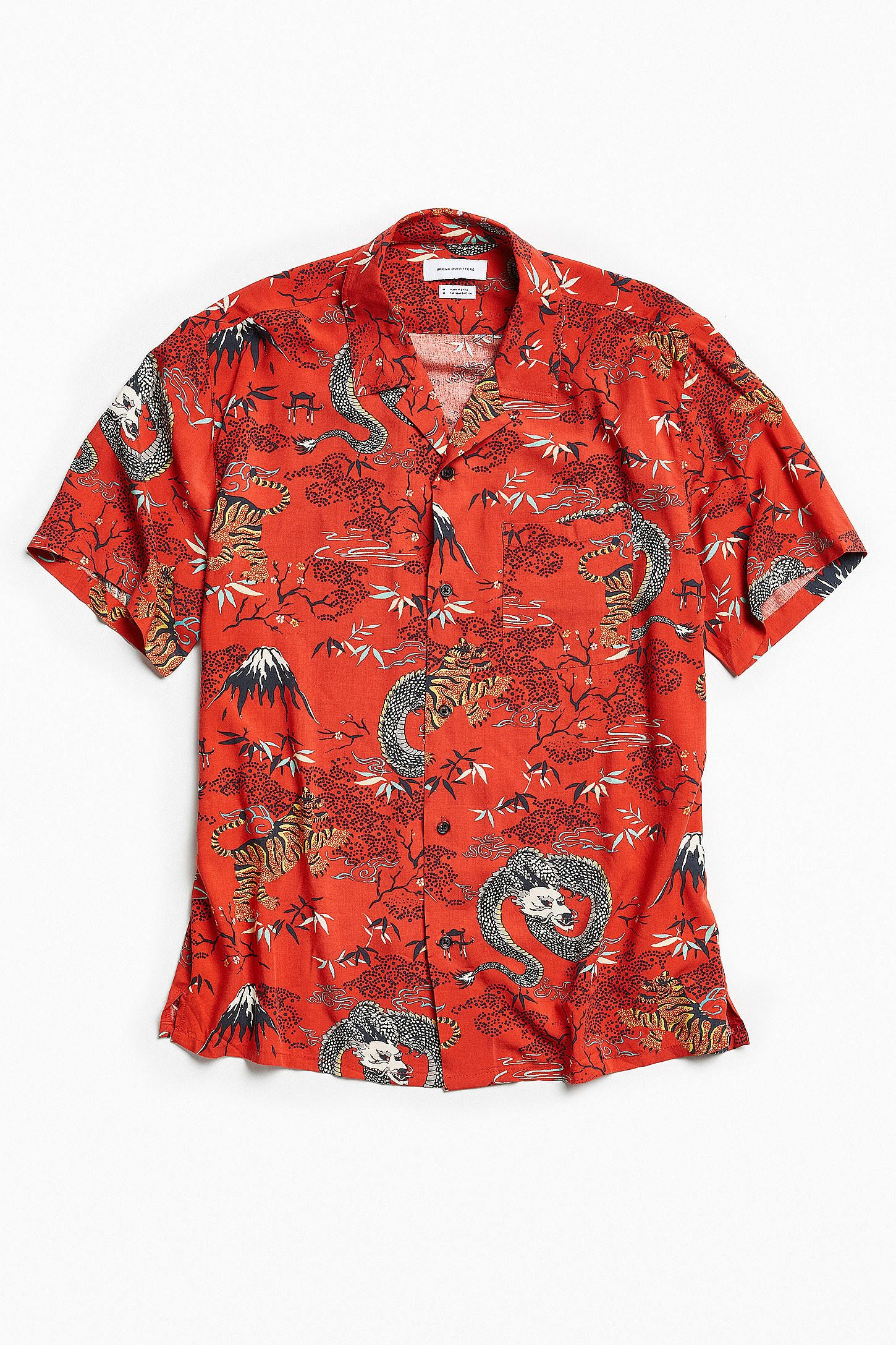 64c88197435 UO Red Dragon Rayon Short Sleeve Button-Down Shirt