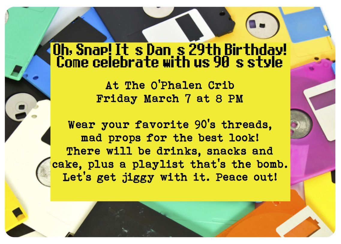 90 S Party Invite Party Invite Template Birthday Invitation