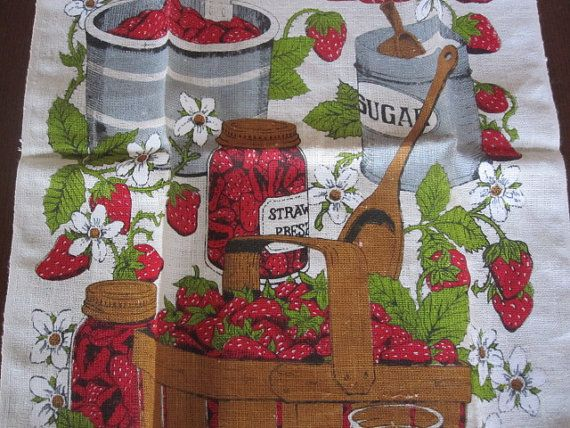 Vintage Strawberry Season Linen Towel NWT Stevens by wkingsbury