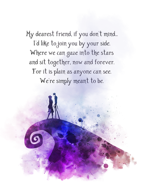 Nightmare Before Christmas Quote ART PRINT Jack and Sally