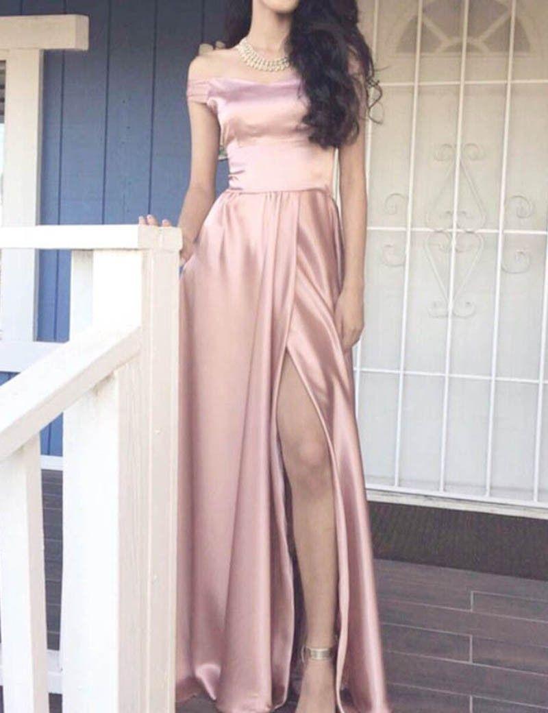A-Line Off the Shoulder Floor-Length Split Blush Satin Prom Dress ...
