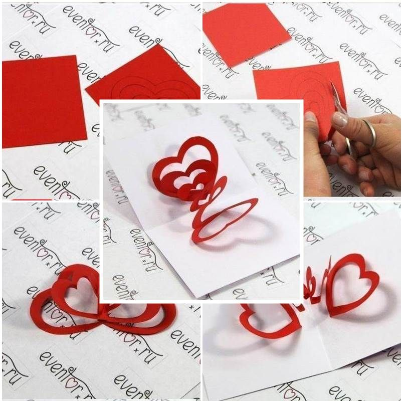 DIY 3D Hearts Valentines Day Card  DIY ideas DIY Valentine and
