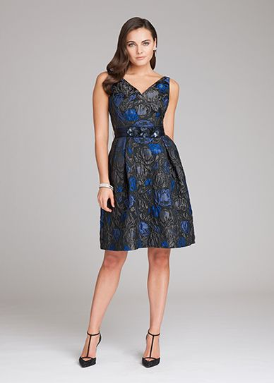 V-Neck Quilted Print Dress