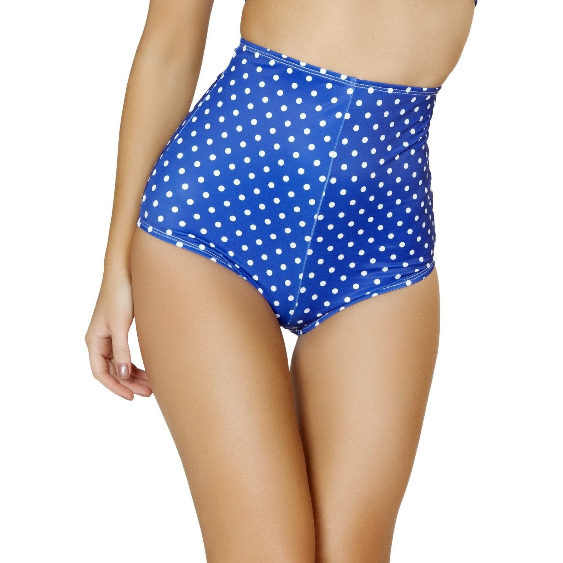 Blue with White Polka Dots High Waisted Booty Shorts #festival ...