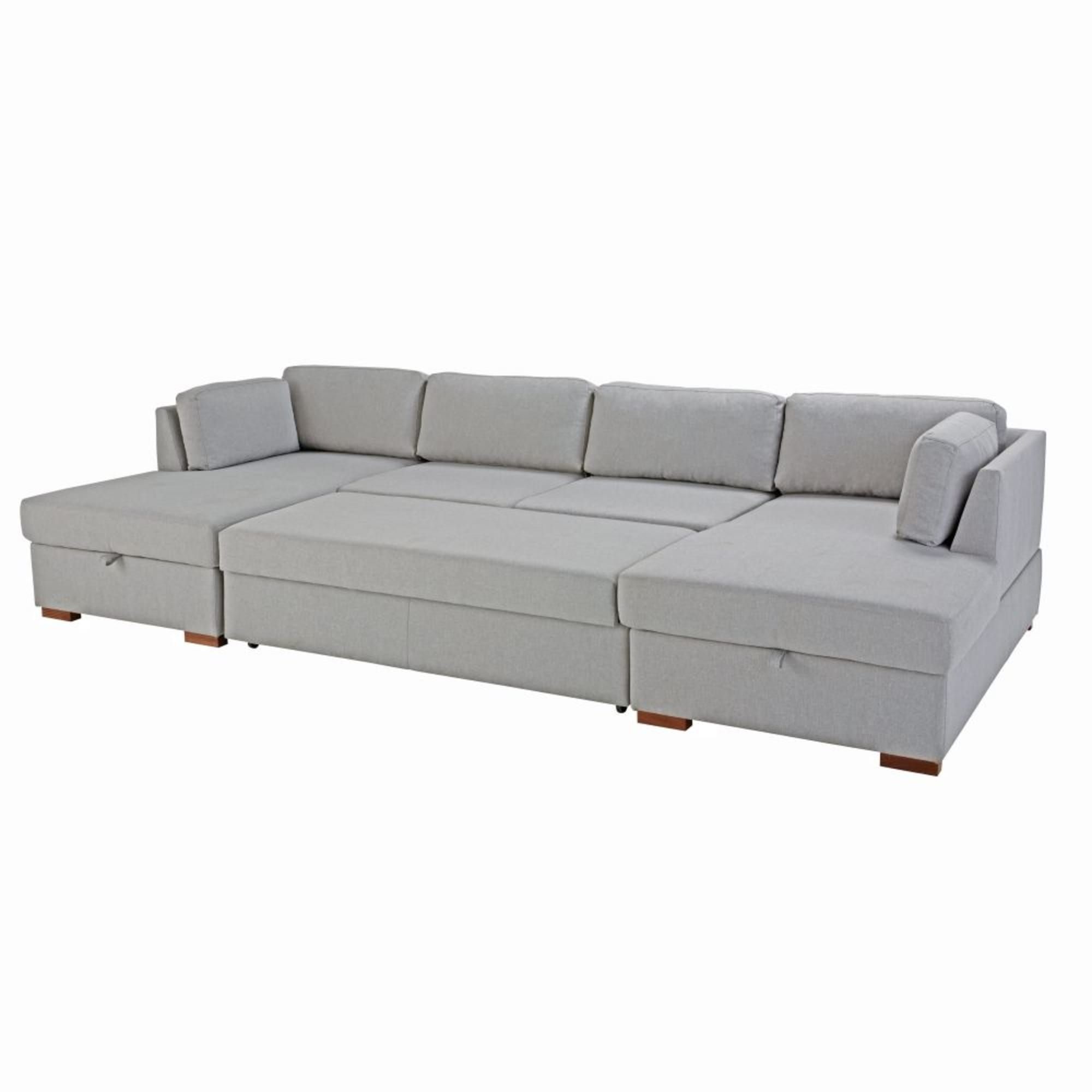 Light Grey 7 Seater U Shaped Sofa Bed Times Square Maisons Du Monde U Shaped Sofa Bed