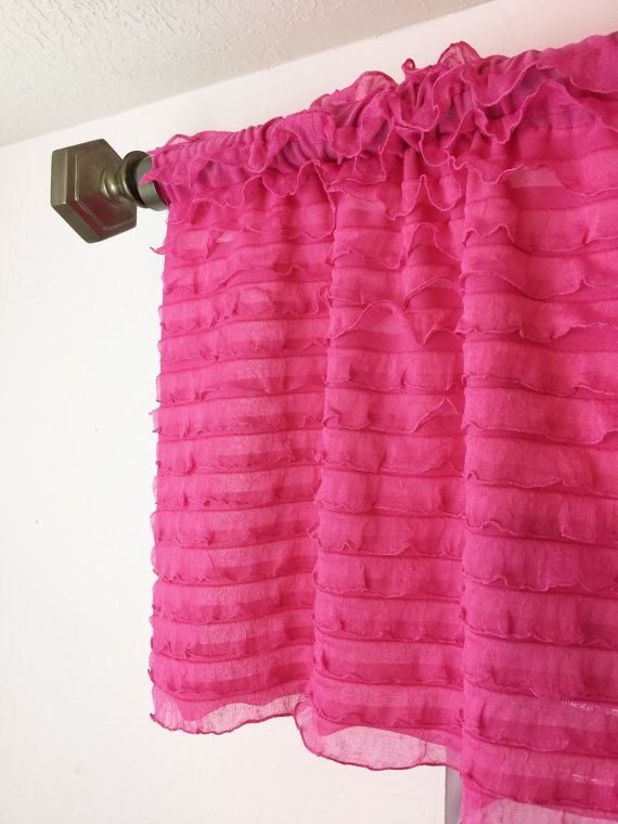 Pink Ruffle Valance Curtain Panels Extra By Avisiontoremember
