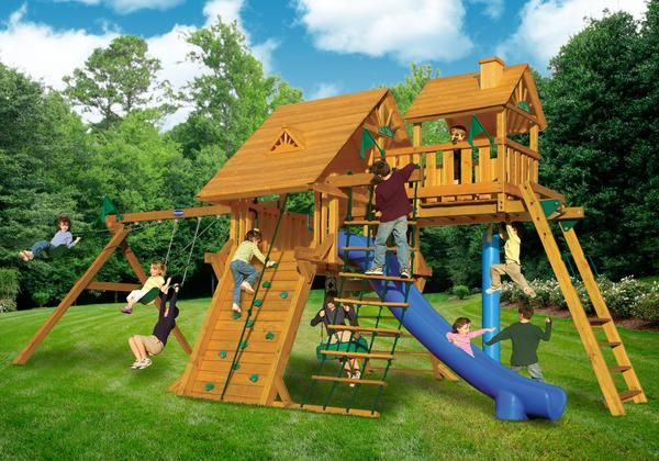 Playnation Colossal Kingdom Deluxe Wooden Swing Set Reese Kid Zone