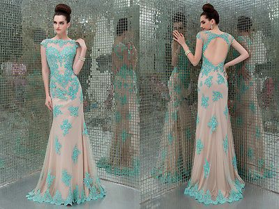 New Sexy Sheer Cap Sleeves Mermaid Prom Dresses Appliqued Backless Evening Gown