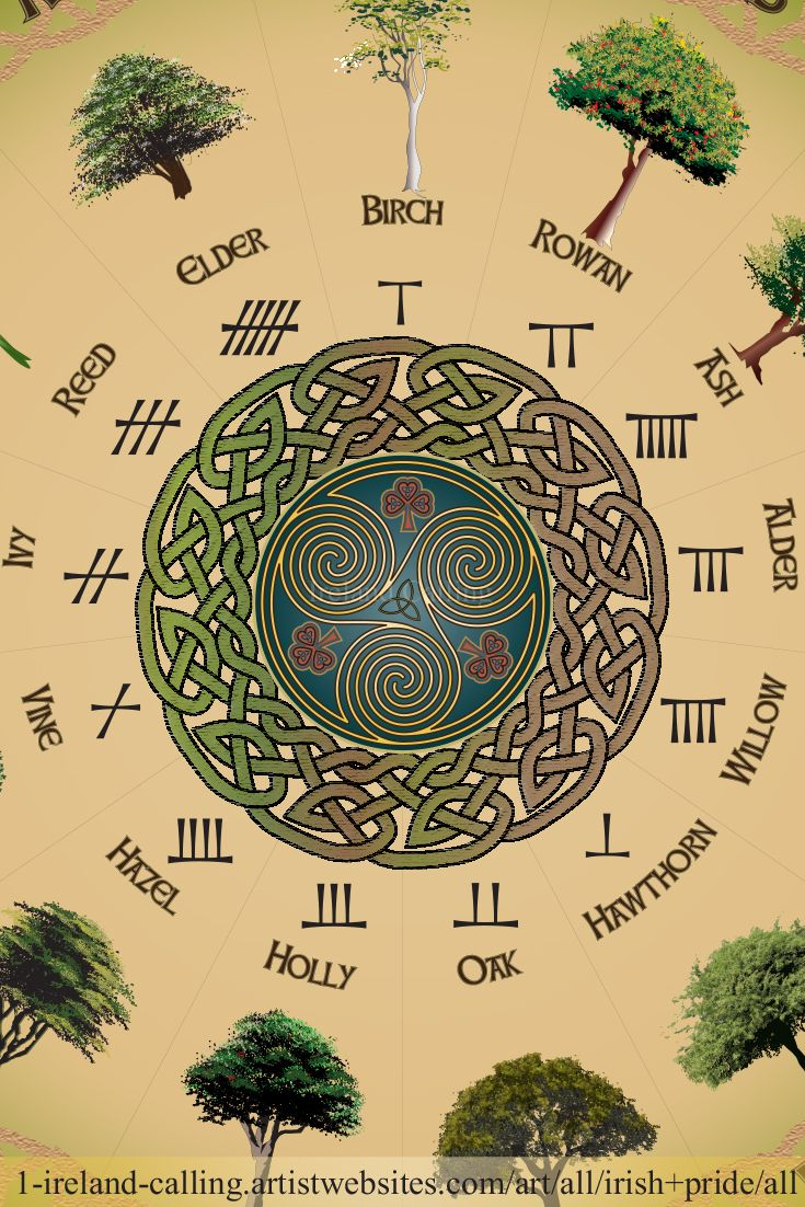Beautiful Ogham Calendar Print Showing The 13 Months Of The Year