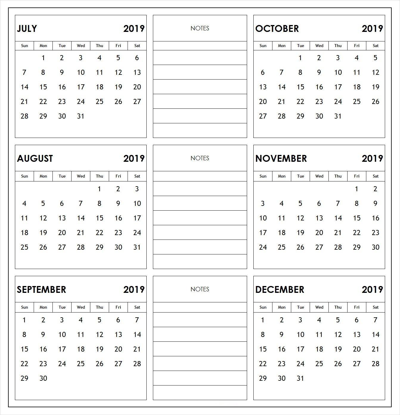 6 Month Calendar 2019 2019 half year print calendar | 2019 Calendars in 2019 | Academic