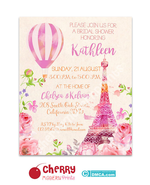 bridal shower invitation eiffel tower paris invitation romantic wedding invitation size 8x10 i