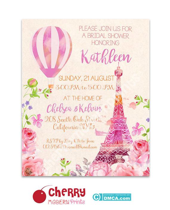 91072b40364a Bridal Shower Invitation  Eiffel Tower Paris Invitation   Romantic Wedding  Invitation - Size 8x10 i