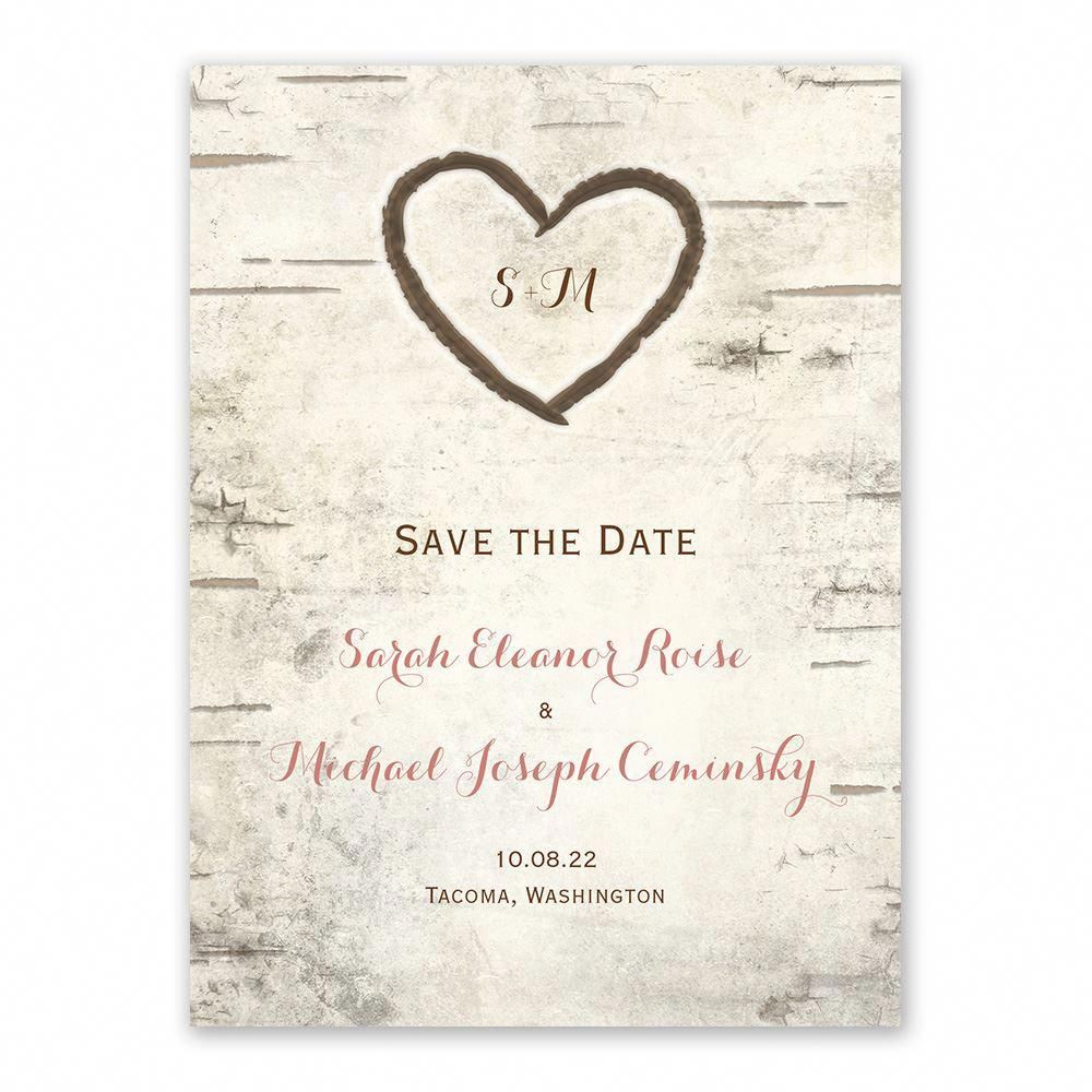 birch tree carvings save the date ann s bridal bargains birch