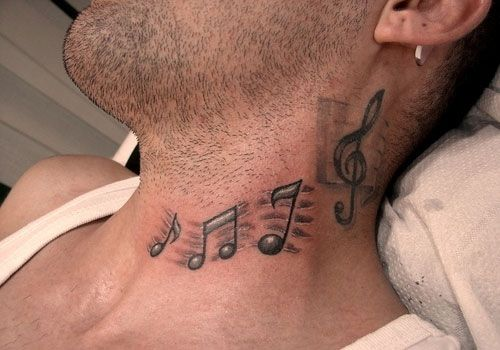 Cool Music Symbol Tattoos Designs For Men On Neck Tattoo Design
