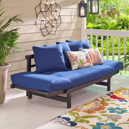 Gentil Studio Converting Outdoor Sofa, Brown With Green Cushions