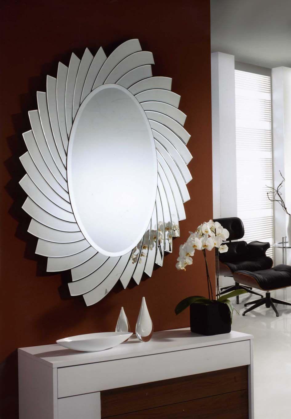 Espejos de cristal modelo helios ovalado decoracion for Espejos decorativos modernos